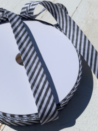 Biasband streep wit/zwart per meter