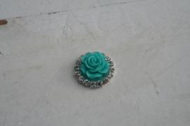 Flatback  roosje met diamantjes mint blue 2.1 cm