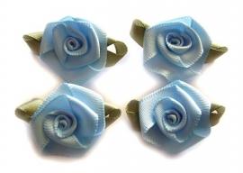 Roosjes met blad lichtblauw 3,5cm