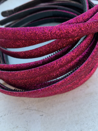 Diadeem glitter hot pink1cm