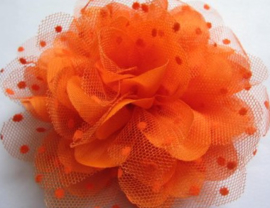 Bloem chiffon oranje met polkadot oranje tule 12.5 cm