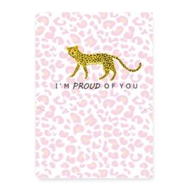 "Sieraden kaart ""proud of you"" Leopard white-pink"