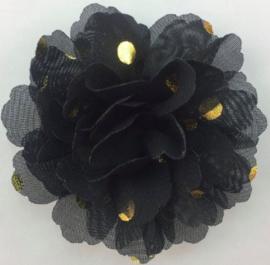 Bloemen chiffon 7 cm zwart polkadot goud