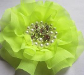 Luxe bloem met strass en parels neon geel