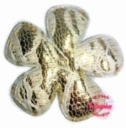 Bloem metallic goud/kant wit 3,5cm pst