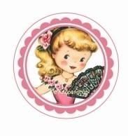 Flatback Vintage meisje & waaier (k211)