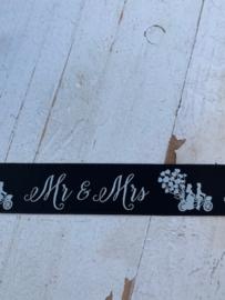 Sierband tekst Mr & Mrs  2.5 cm zwart