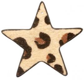 Hanger pu leer  ster harig met tijgerprint beige bruin