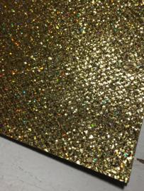 Glitter leer grof ruit motief laser gold