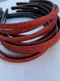 Diadeem glitter rood 1cm