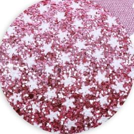 Glitter leer sterren roze/wit