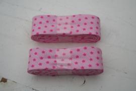 Biasband licht roze met roze mini sterren (7005)