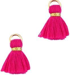 Kwastje Ibiza/bohemian  style 1.5cm Gold-hot pink