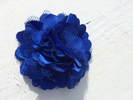 Stoffen satijn bloem met schijfje 5cm *royal blue* pst