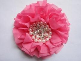 Luxe bloem met strass en parels bubblegum