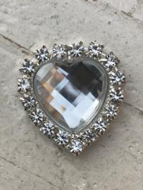 Flatback rhinestone hartje kristal 2cm