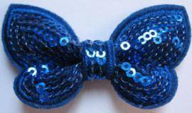 Vlinder pailletten royal blue/cobalt blauw