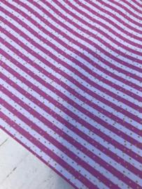 Leer streep  wit/roze met gouden stipjes