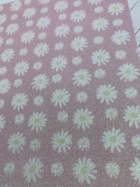 Leer  madeliefje pastel roze glitter
