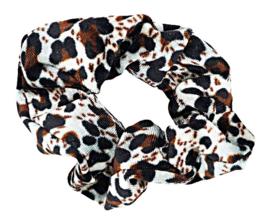 Scrunchies Haarwokkel tijger/panter velvet zwart/bruin