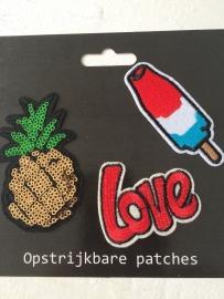 Patches ijs/love/ananas opstrijkbaar
