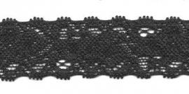 Elastisch kant zwart  22 mm