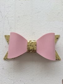 Strik  leer/glitter 7 cm roze/goud
