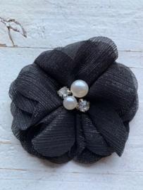 Bloem glitter chiffon met parels & strass zwart 8cm
