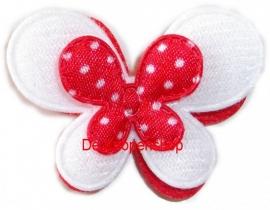 3d vlinder rood,wit polka dot
