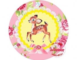 Flatback hertje & roosjes geel & roze(k883)