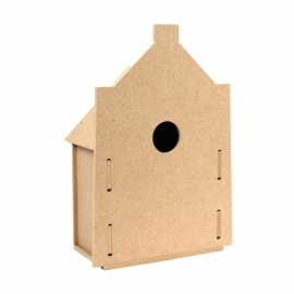 Houten 3D vogelhuisje model Rond