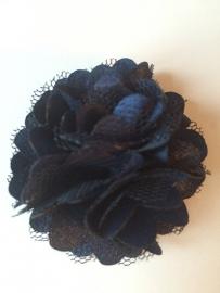 Stoffen satijn bloem met schijfje 5cm *navy* pst