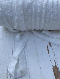 Elastisch band met roezeltjes (haarbandjes) off white 1,3cm