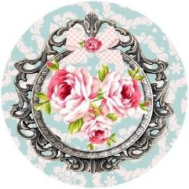 Flatback roosjes in frame blauwe bloemen (k064)