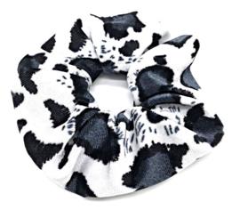 Scrunchies Haarwokkel tijger/panter velvet zwart/antraciet