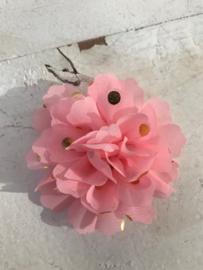 Bloemen chiffon 7 cm licht roze polkadot goud