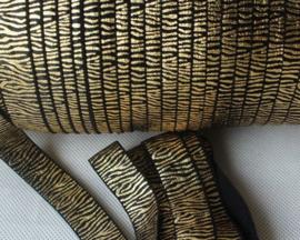 Elastisch band zwart met goud zebra