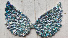 Vleugel 7,0cm grof glitter licht blauw