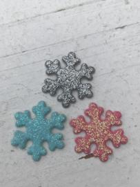 Sneeuwvlok glitter 2cm kies jou kleur