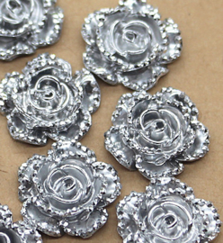 Flatback roos zilver glitter