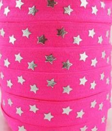 Elastisch haarband zuurstok roze met zilver ster