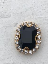 Flatback rhinestone  ovaal  goud luxe  zwart