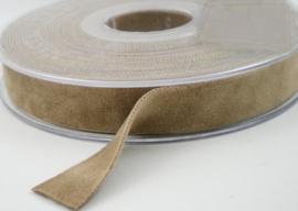 Velvet/fluweel band taupe dubbelzijdig 1.5cm