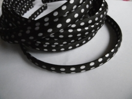 Diadeem zwart polkadot 1cm