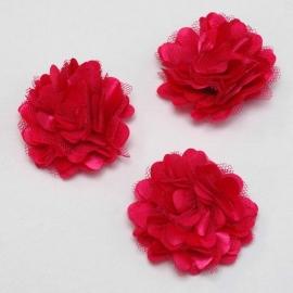 Stoffen satijn bloem met schijfje 5cm *fuchsia* pst