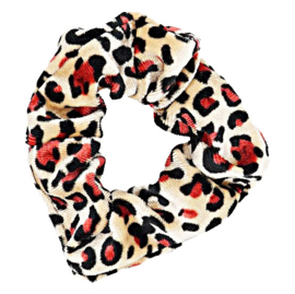 Scrunchies Haarwokkel tijger/panter velvet zwart/coral
