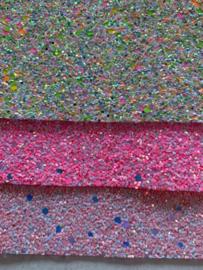 Glitter Leer grof licht roze/zilver mix 20x30 cm
