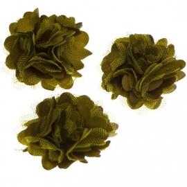 Stoffen satijn bloem met schijfje 5cm *legergroen* pst