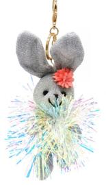 Tas/Sleutelhanger Glitter Bunny Zilver