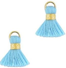 Kwastje Ibiza/bohemian  style 1.5cm Gold-blauw